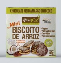 Biscoito de Arroz Mini Rice Fit Choc Meio Amargo com Coco