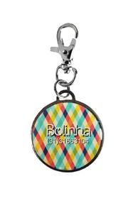 Pingente Personalizado p/ Cães Xadrez Colorido - Personalizado